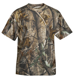 Custom embroidered Tri Mountain 122C Momentum Camo moisture wicking tee, 100% polyester.