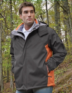 Custom embroidered Tri-Mountain 6850 Washington 3 layer 2 bonded soft shell jacket.