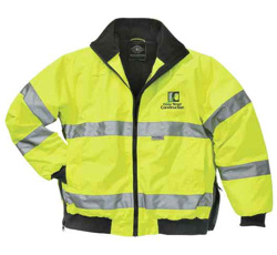 embroidered Hi-Visability jacket, 9732 by charles river. reflective, heavyweight poly coating, black fleece lining. embroider with your company logo!