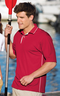 SportTek Dri Mesh striped collar sport shirt, embroidered