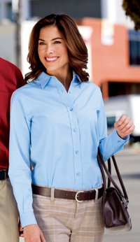 L608 Port Authority Ladies Easy Care long sleeve woven shirt, with your embroidered logo