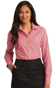 Custom embroidered Port Authority ® Ladies Long Sleeve Gingham Easy Care Shirt. L654