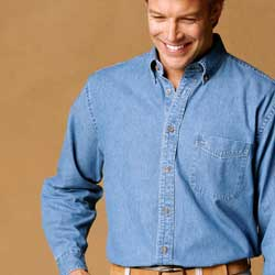 Embroidered denim shirts, harriton brand