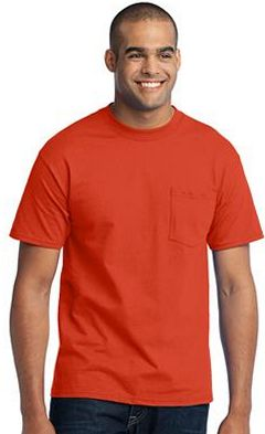 Custom embroidered Port & Company ® - 50/50 Cotton/Poly Pocketed TALL T-Shirt. PC55PT