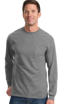 Port & Company® Tall Long Sleeve Essential T-Shirt with Pocket. PC61LSPT, custom embroidered