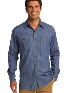 Custom Embroidered Port Authority ® Denim Shirt with Patch Pockets. S652