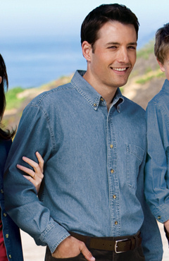 Port and Company long sleeve value denim shirt, SP10. Embroidered with your logo.