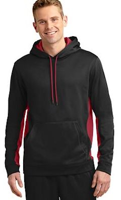 custom embroidered Sport-Tek ® Sport-Wick ® Fleece Colorblock Hooded Pullover. ST235