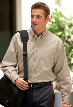 Custom Embroidered Port Authority TALL, long sleeve twill shirt, TLS600T, with embroidered logo.