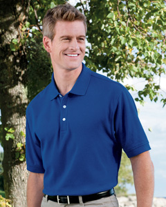 custom embroidered D100 Devon & Jones Men's Pima Piqué Short-Sleeve Polo
