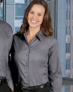 custom embroidery M500W Harriton Ladies' Long-Sleeve Twill Shirt with Stain-Release