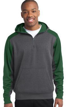 Custom embroidered Sport-Tek ® - Colorblock Tech Fleece 1/4-Zip Hooded Sweatshirt. ST249